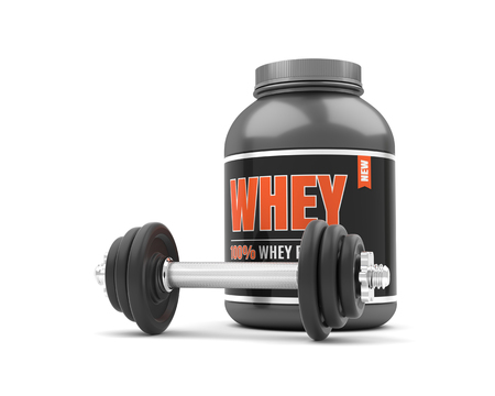 Whey protein with dumbbells on white background. 3D illustration