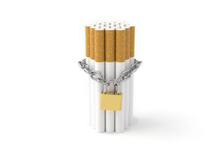 habit: World No Tobacco Day, Stop smoking concept, Cigarette with chain and padlock on white background.. 3D illustration