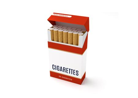 흰색 배경에 상자를 엽니 다 담배를 엽니 다. 3D 일러스트 레이션