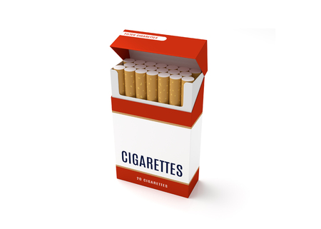 Open cigarettes pack box on white background. 3D illustration