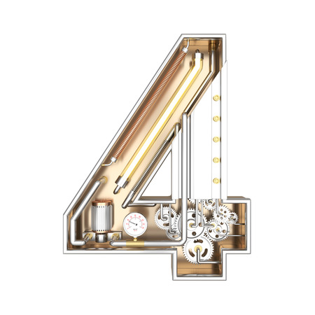 brushed: Mechanic alphabet ,number 4 on white background with clipping path. 3D illustration