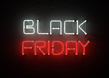 Black friday sale neon background. 3D illustration