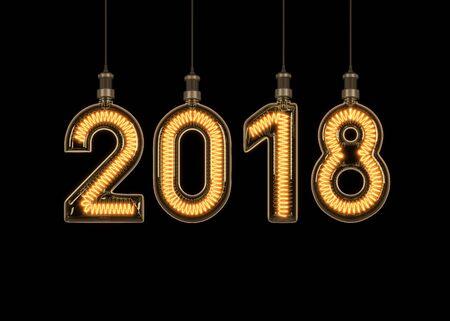 Nuevo año 2018 de bombilla. Ilustración 3D Foto de archivo