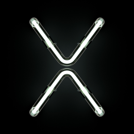 Neon Light Alphabet X. 3D illustration