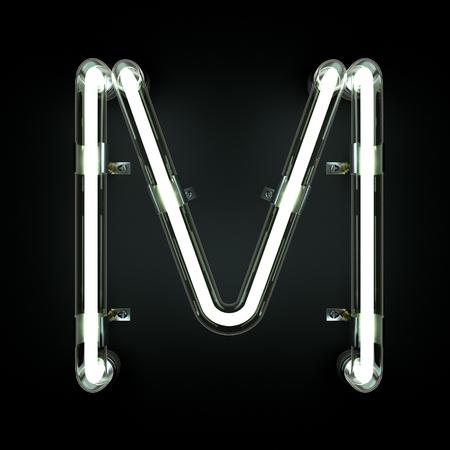 Neon Light Alphabet M. 3D illustration Stock Illustration - 85364528