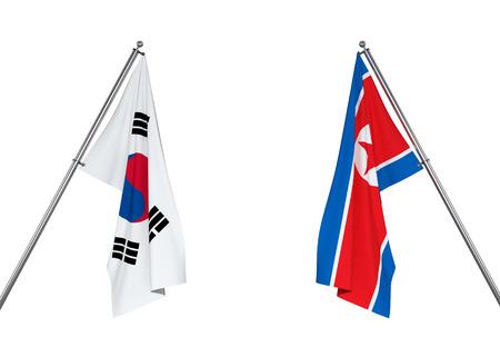 South Korea flag and North Korea flag on white background   3D illustration Stock fotó
