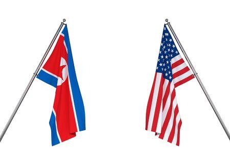 North Korea flag and USA flag on white background   . 3D illustration Stock Photo
