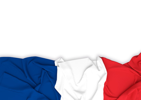 francais: France flag on white background with clipping path. 3D illustration Stock Photo