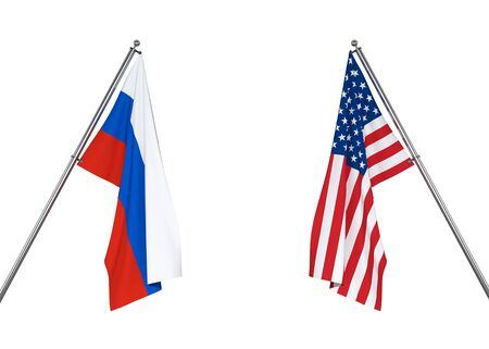 Russia flag and USA flag on white background