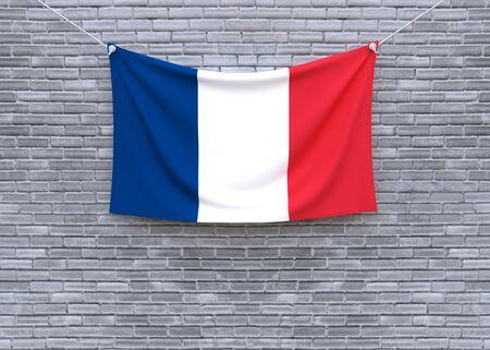 francais: France flag hanging on brick wall. 3D illustration Stock Photo