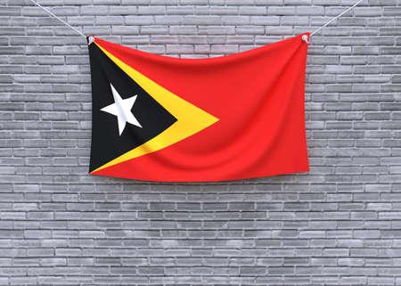 East Timor flag on brick wall. 3D illustration