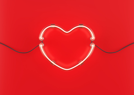 Neon heart on red background. 3D illustration Stock Photo