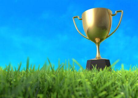 Coppa trofeo d'oro sul campo. Illustrazione 3D Archivio Fotografico - 97586977