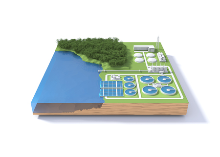 Wastewater treatment plant concept. 3D illustration
