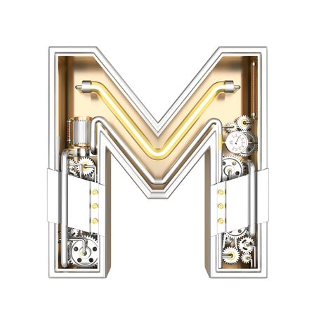 Mechanic alphabet ,letter M on white background with clipping path. 3D illustration