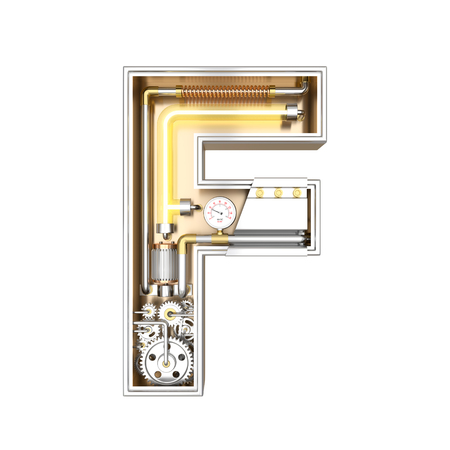Mechanic alphabet ,letter F on white background with clipping path. 3D illustration Stok Fotoğraf