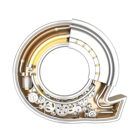 Mechanic alphabet ,letter Q on white background with clipping path. 3D illustration