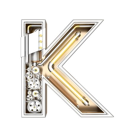 Mechanic alphabet ,letter K on white background with clipping path. 3D illustration