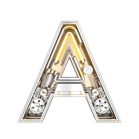 Mechanic alphabet ,letter A on white background with clipping path. 3D illustration
