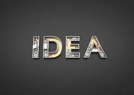 Idea word made from Mechanic alphabet. 3D illustration