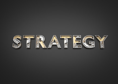 STRATEGY word made from Mechanic alphabet. 3D illustration Imagens