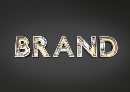 Brand word made from Mechanic alphabet. 3D illustration Imagens
