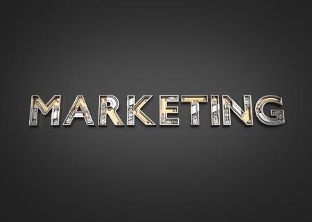 Marketing word made from Mechanic alphabet. 3D illustration Imagens