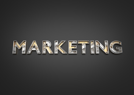 Marketing word made from Mechanic alphabet. 3D illustration Stock Photo