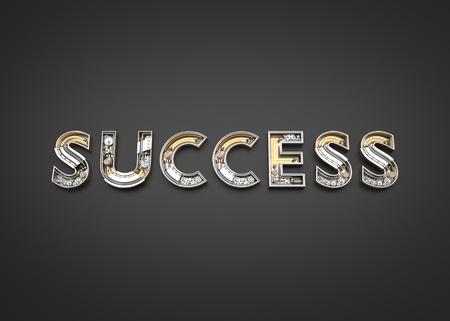 Success word made from Mechanic alphabet. 3D illustration Imagens