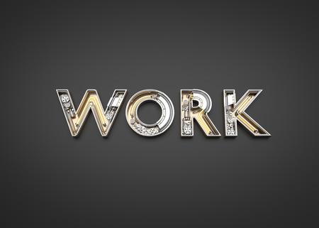 Work letters made from Mechanic alphabet. 3D illustration Imagens