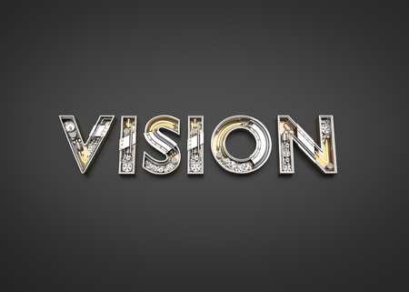 Vision word made from Mechanic alphabet. 3D illustration Stock Photo