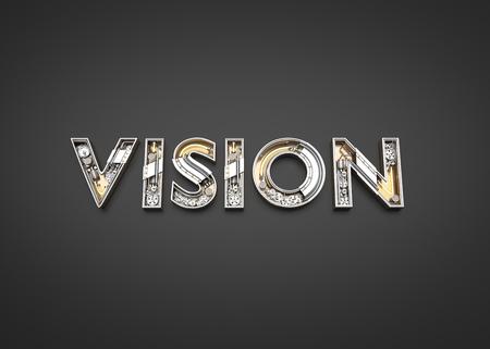 Vision word made from Mechanic alphabet. 3D illustration Imagens