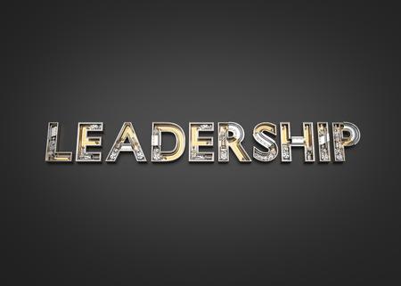 Leadership word made from Mechanic alphabet. 3D illustration Imagens