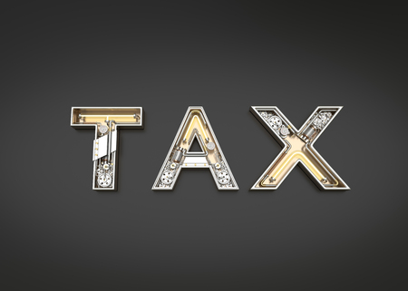 Tax word made from Mechanic alphabet. 3D illustration Stock Photo
