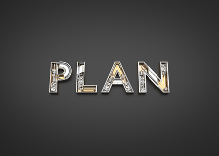 Plan word made from Mechanic alphabet. 3D illustration