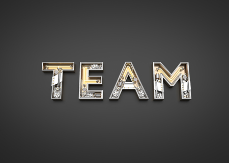 Team word made from Mechanic alphabet. 3D illustration