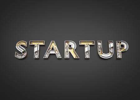 Business startup word made from Mechanic alphabet. 3D illustration Imagens