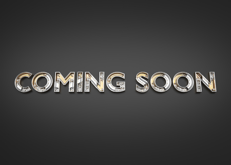 COMING SOON word made from Mechanic alphabet. 3D illustration