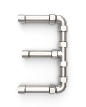 Alphabet made of Metal pipe, number 3. 3D illustration