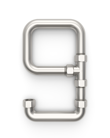 Alphabet made of Metal pipe, number 9. 3D illustration Stock Photo