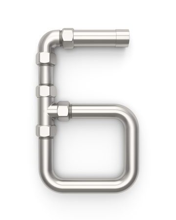 Alphabet made of Metal pipe, number 6. 3D illustration