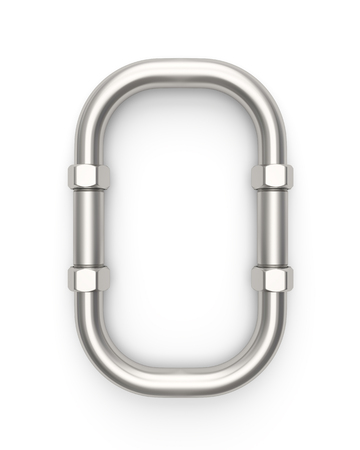 Alphabet made of Metal pipe, number 0. 3D illustration Imagens