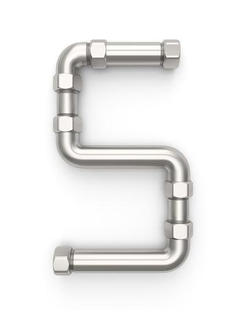 Alphabet made of Metal pipe, number 5. 3D illustration