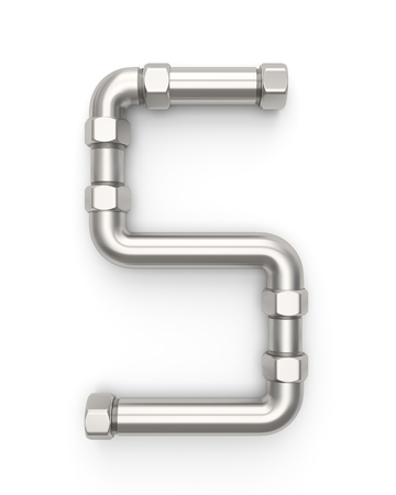 Alphabet made of Metal pipe, number 5. 3D illustration