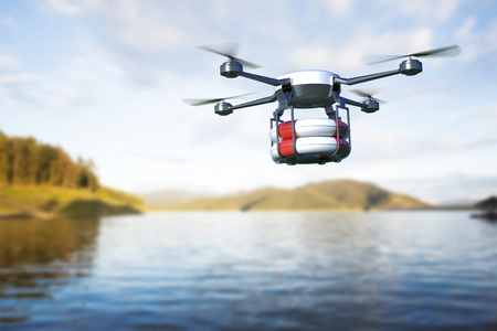 Rescue drone with lifebuoy flying over the lake. 3D illustration