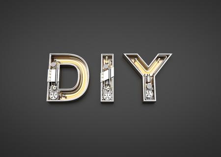 DIY word made from Mechanic alphabet. 3D illustration