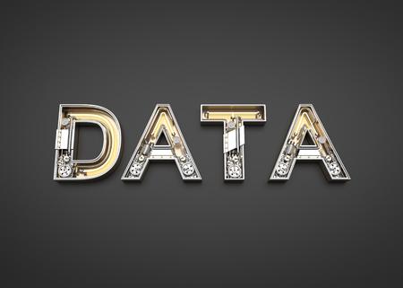 Data word made from Mechanic alphabet. 3D illustration