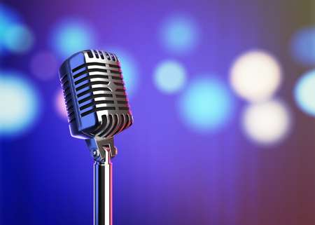 Retro microphone on stage with blurred lights. 3D illustration