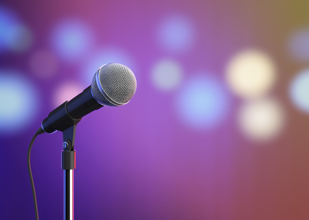 Microphone on stage with blurred lights. 3D illustration