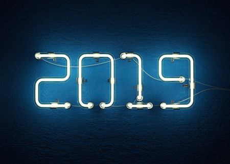 New year 2019 made from neon alphabet. 3D illustration Stock Photo